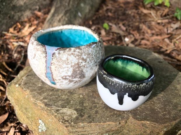 pair of funkily glazed pots